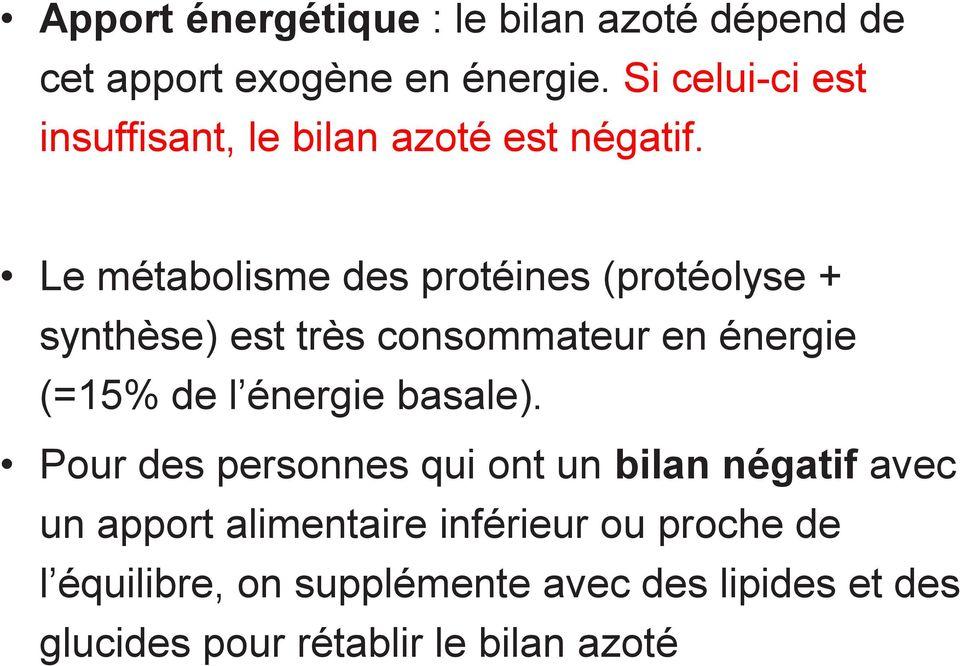 perte de poids de bilan azoté négatif